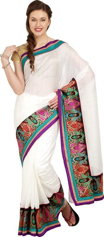 Aryahi Solid Daily Wear Art Silk Saree(White)