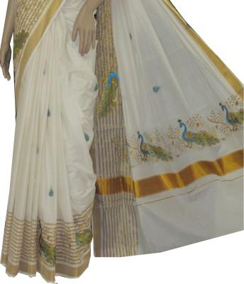 Aaranya Embriodered Mundum Neriyathum Cotton Sari