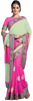 Mukta Mishree Exports Embriodered Fashion Georgette, Brasso Sari