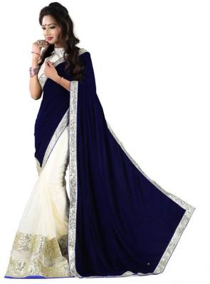 Zenny Creation Solid Bollywood Velvet Sari