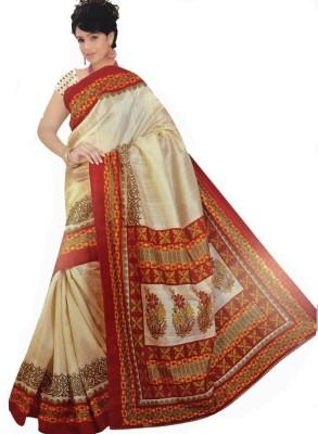 Geordie Floral Print, Self Design Fashion Art Silk, Cotton Sari