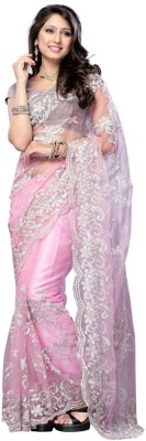 OMSHIV Embriodered Fashion Georgette Sari