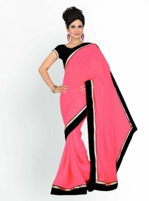 Home Design Plain Fashion Synthetic Chiffon Sari