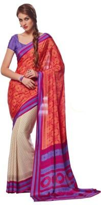 Awesome Fab Printed Fashion Pure Crepe Sari