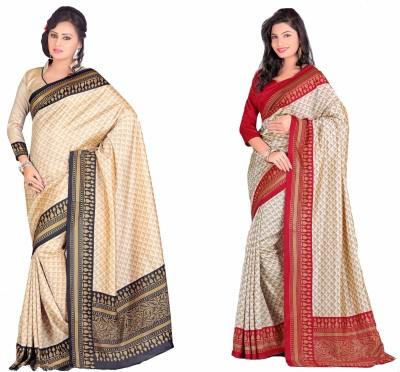 Swaranjali Geometric Print, Self Design, Printed Fashion Art Silk, Cotton Sari