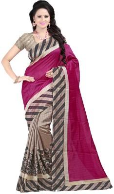 AJS Self Design, Floral Print, Striped, Printed Bollywood Banarasi Silk Sari