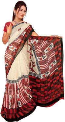 Trendz Printed Bollywood Georgette Sari(Red, Black)