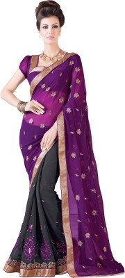 Desi Look Embriodered, Solid Fashion Chiffon Sari