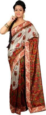 Womilo Floral Print Daily Wear Jute, Silk Sari