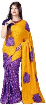 Panchi Printed Bandhani Handloom Silk Cotton Blend Sari
