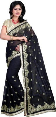 Nimi Fashion Self Design, Embriodered, Solid, Woven Bollywood Handloom Georgette Sari