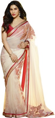 The Color Tex Floral Print, Embriodered Bollywood Chiffon, Net Sari
