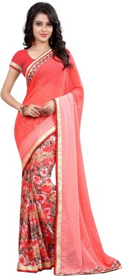 Arya Fashion Self Design Fashion Georgette Saree(Pink) at flipkart