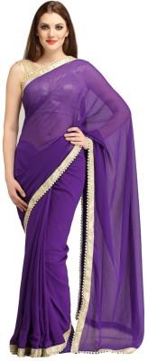 Pinchmore Designer Sarees Plain, Self Design Fashion Georgette Sari