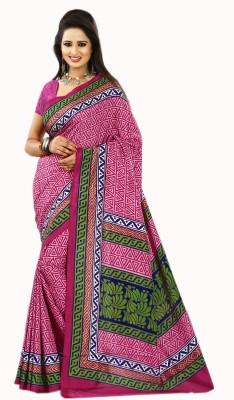 Purple Boat Geometric Print Fashion Silk Cotton Blend Sari