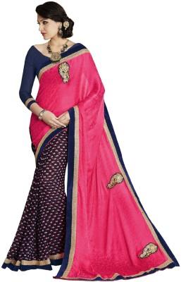 DesiButik Embriodered Fashion Crepe, Chiffon Sari