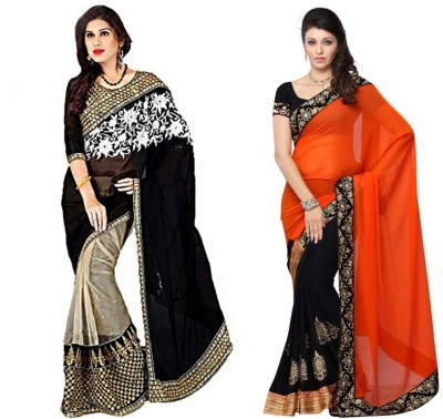 Red Carpet Embriodered Bollywood Georgette, Georgette, Net Sari