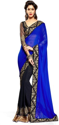 scubedesigns Solid Bollywood Georgette Sari