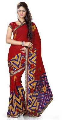 Adah Fashions Printed Daily Wear Art Silk Sari Blue, Green  available at Flipkart for Rs.265
