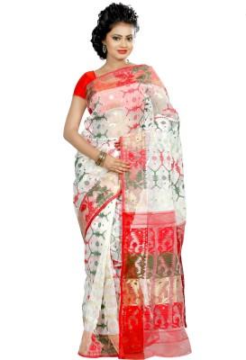 B3Fashion Woven Jamdani Handloom Silk Cotton Blend Sari