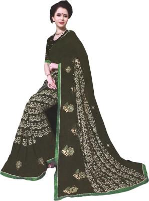 BPS Geometric Print, Embriodered, Embellished Fashion Georgette Sari