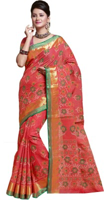 M.S.Retail Printed Gadwal Cotton Saree(Red) at flipkart