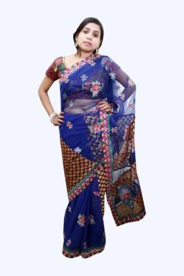 Ahuja Embriodered Bollywood Handloom Net, Brasso Sari