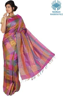 Jharcraft Checkered Fashion Handloom Silk Sari