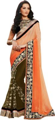 Brijraj Embriodered Fashion Net, Satin Sari