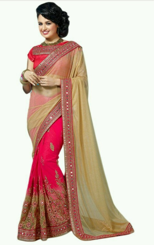 Aarti Apparels Embroidered Bollywood Chiffon, Net Saree(Multicolor)