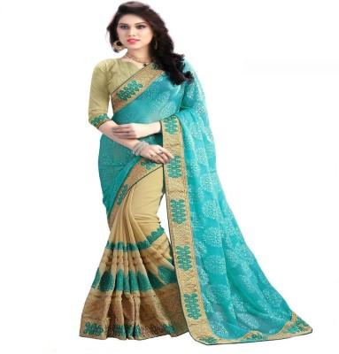 Om Shantam Sarees Embriodered, Self Design Bollywood Georgette Sari
