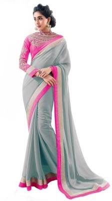 Kia Fashions Solid Daily Wear Georgette Sari