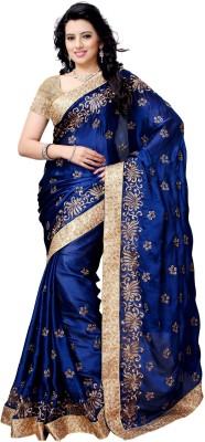 Pragati Fashion Hab Embroidered Fashion Satin Sari(Dark Blue)