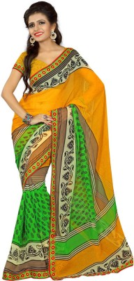 RRP Printed Fashion Georgette, Synthetic Sari