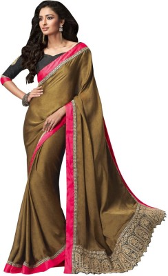 The Ethnic Chic Embriodered Fashion Pure Crepe, Jacquard Sari
