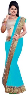 Nidhik Plain Bollywood Synthetic Georgette Sari