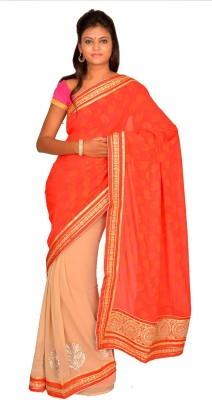 Jagadamba Solid Bollywood Georgette Sari