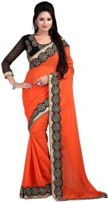 Elevate Women Solid, Plain Fashion Chiffon Sari