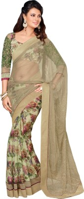Queenbee Floral Print, Self Design Fashion Georgette Sari