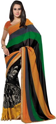 Subhash Sarees Striped, Floral Print Daily Wear Georgette Sari