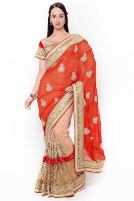 Triveni Self Design Fashion Pure Georgette Saree(Orange) at flipkart