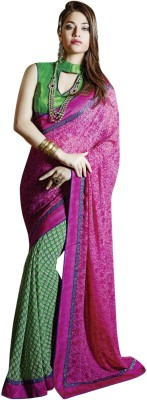 Vibes Printed Fashion Georgette Saree(Pink) at flipkart