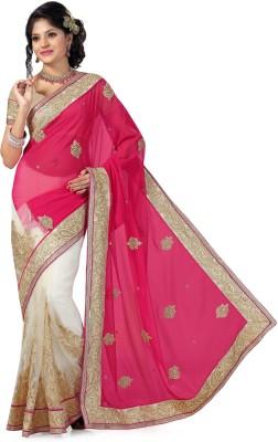 Preeti Solid, Self Design Bollywood Georgette, Net Sari