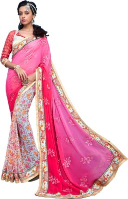 Varnilifestyle Embriodered Fashion Georgette Sari