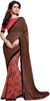KL COLLECTION Solid Bollywood Georgette Sari