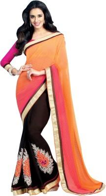 Shonaya Applique Fashion Chiffon Saree(Orange, Brown) at flipkart