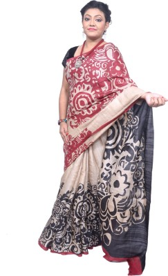 Tanjinas Floral Print Fashion Handloom Tussar Silk Sari