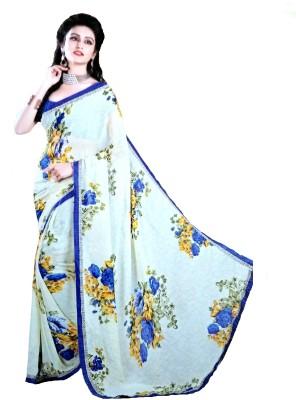 Nishchay Floral Print Fashion Georgette Sari