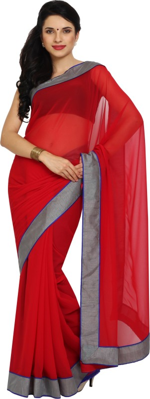 Aryahi Solid Fashion Synthetic Saree(Red)