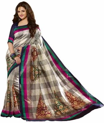Shoppingover Printed Bhagalpuri Art Silk Sari